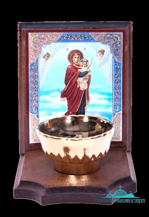 Icoană cu candelă din lemn Maica Domnului